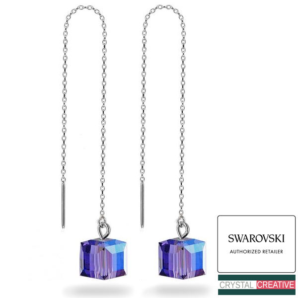 Sterling Silver Long Earrings made with 6106 /& 5000 Swarovski® Crystals
