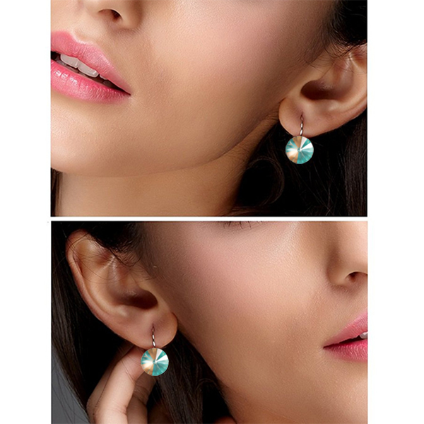 Glossy Rivoli Earrings made with SWAROVSKI Crystal